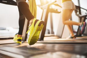 Close up of running on a treadmill