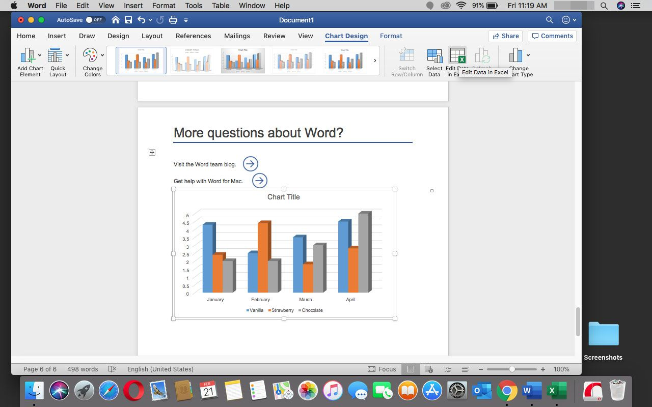 A chart has been inserted in Word in Office 365 for Mac.