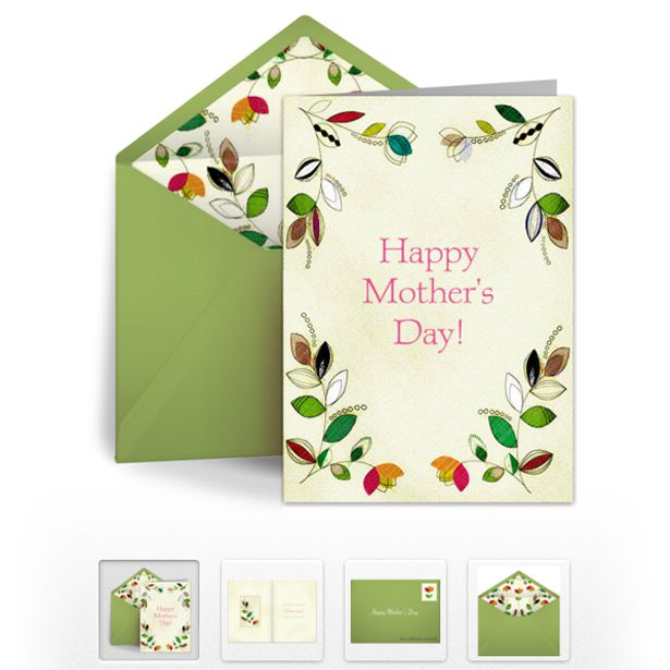 A Mothers Day Ecard With Flowers In The Corners