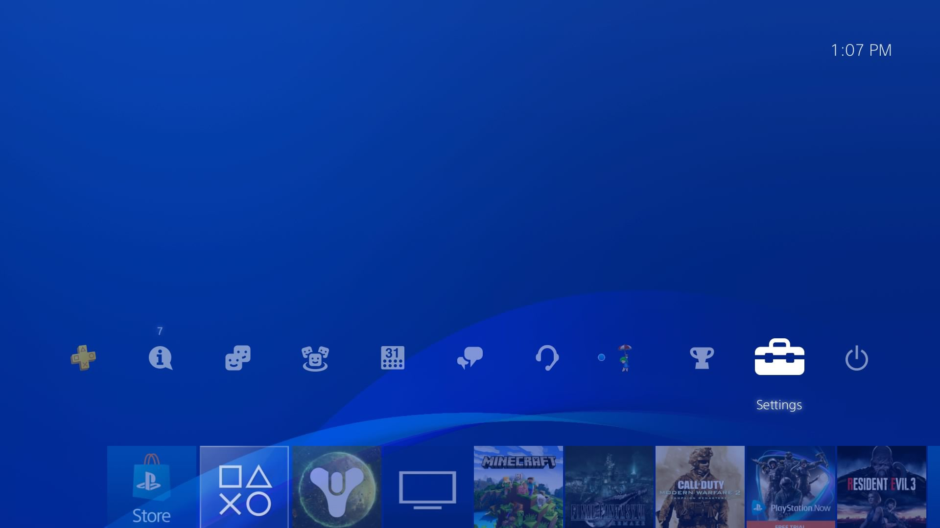 Select Settings at the top of the PS4 home menu.