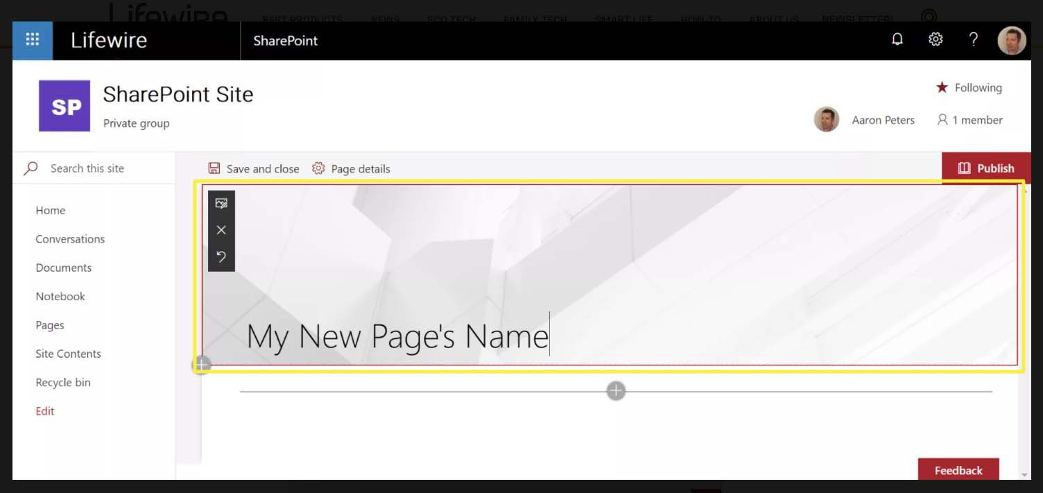Entering a site name in SharePoint Site window.