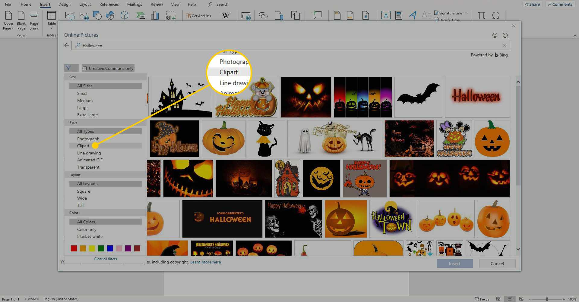 Online Pictures search results in Word with the Clipart filter highlighted