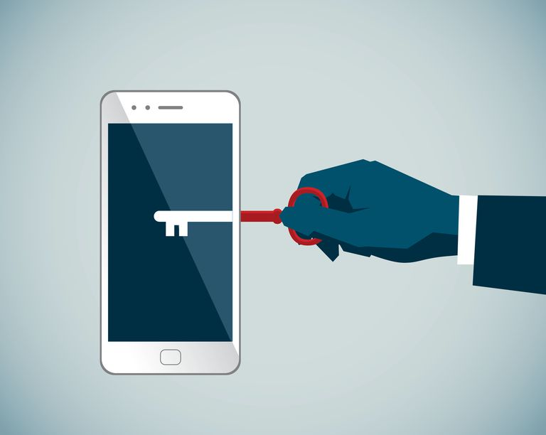 An illustration of a key unlocking a phone.