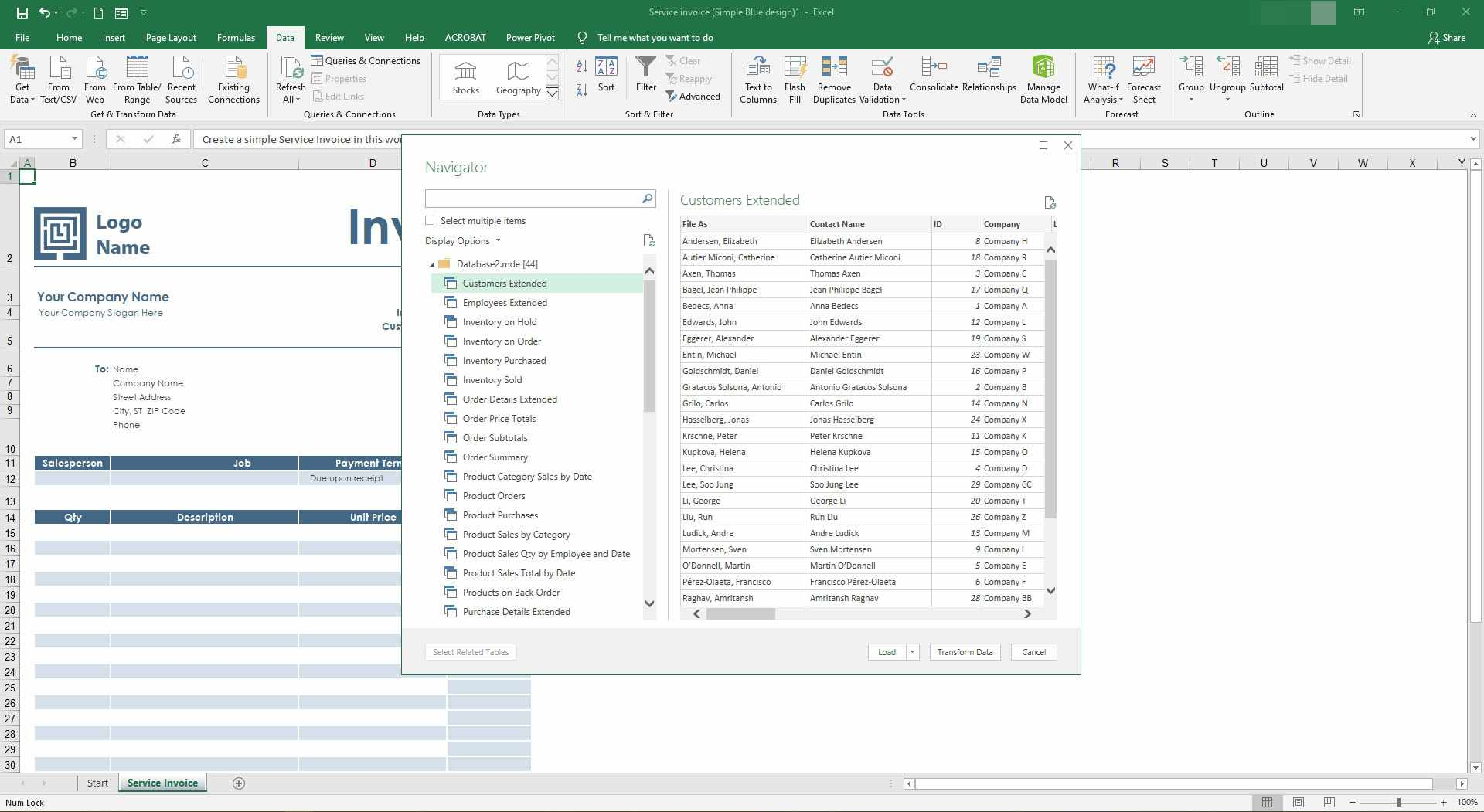 Selecting items to load into Excel.