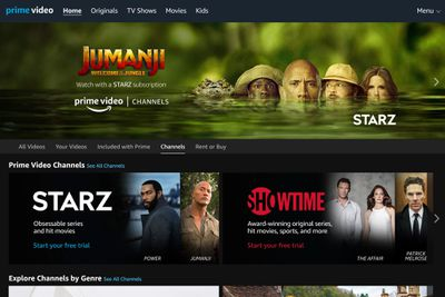 Screenshot of the Amazon Prime Video Channels landing page
