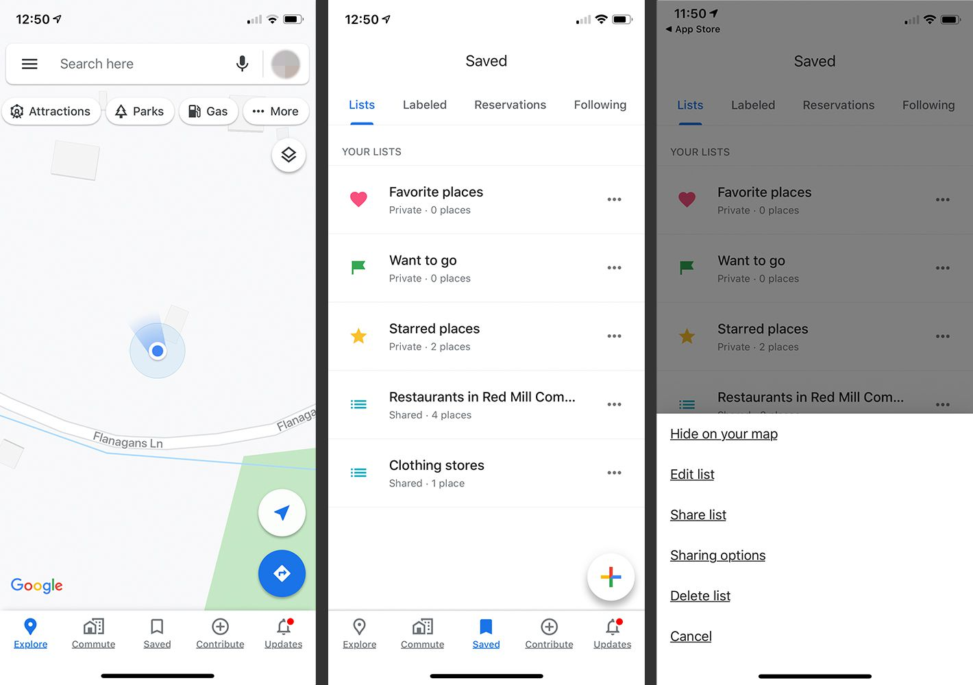 Google Maps app home screen