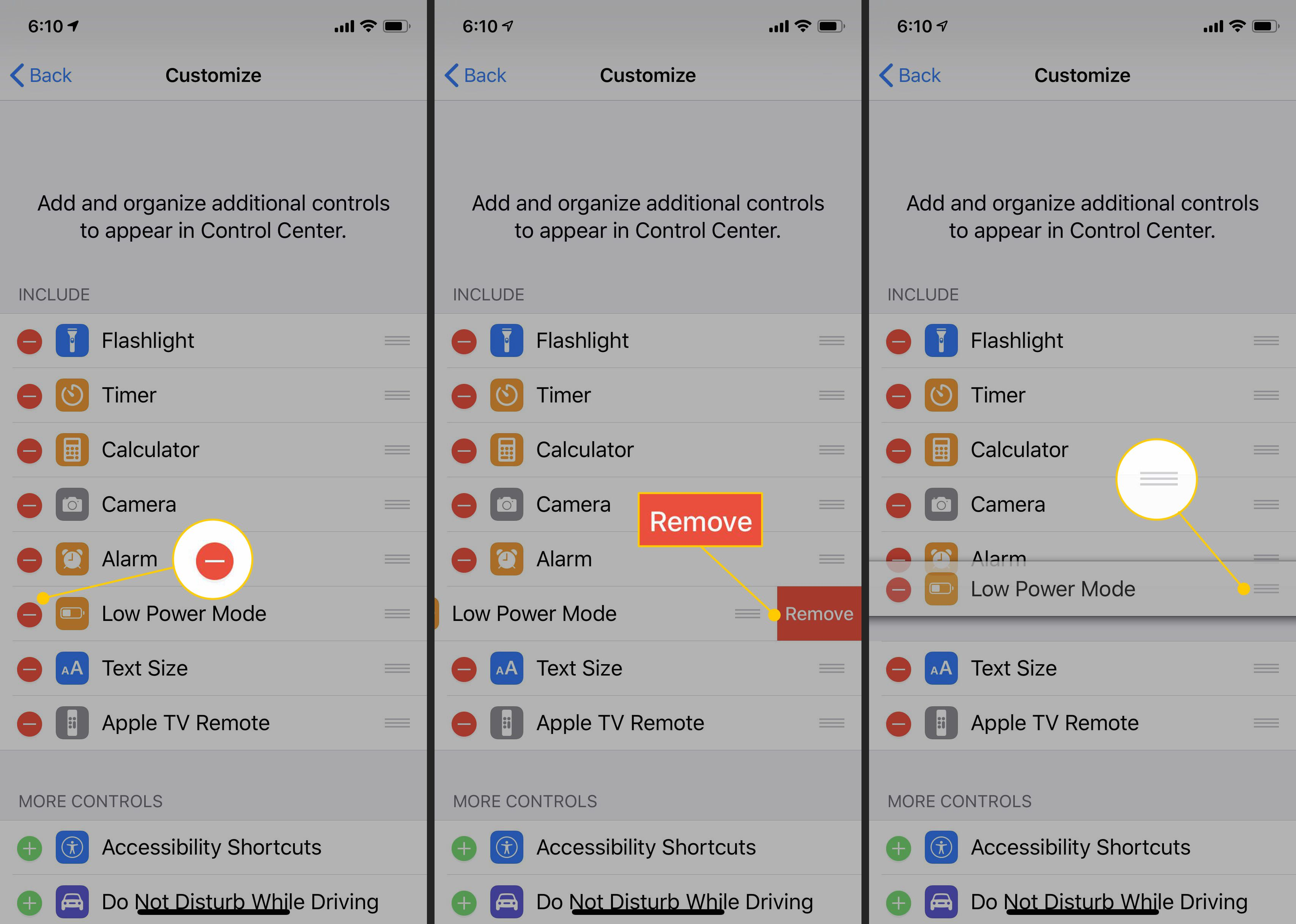 Minus button, Remove button and move item button in iOS Control Center Customize settings