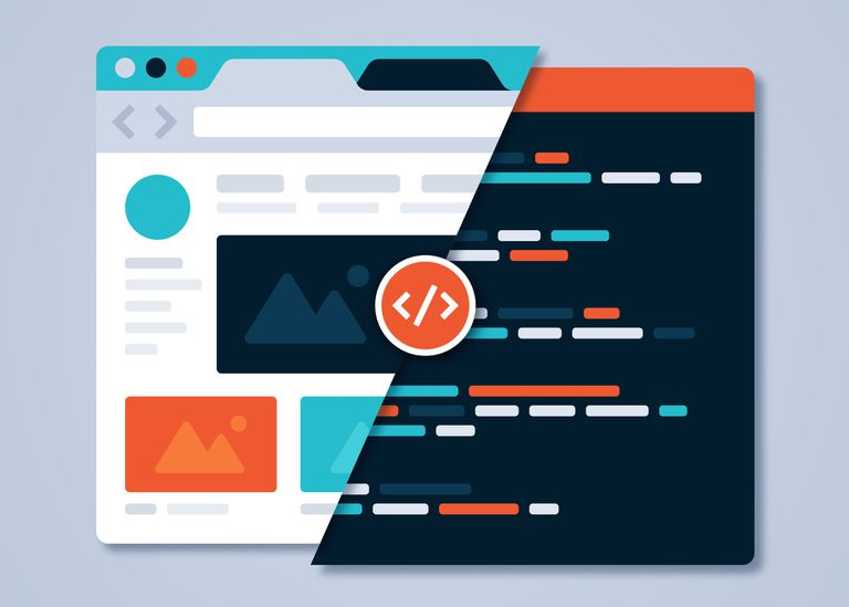 Illustration of website and HTML or WYSIWYG editor side by side