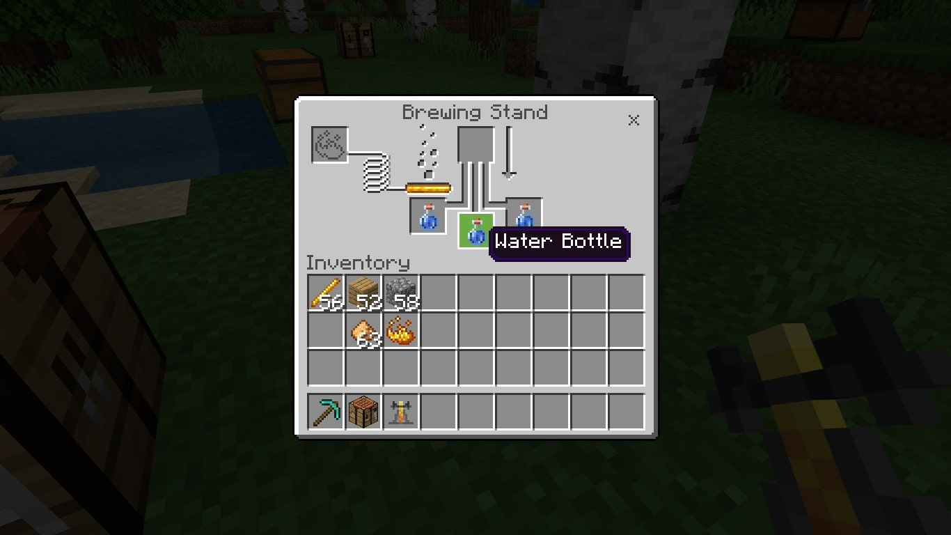 A water bottle in the Minecraft brewing menu