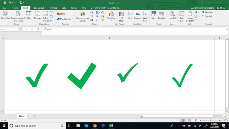 Adding Checkmarks In Excel
