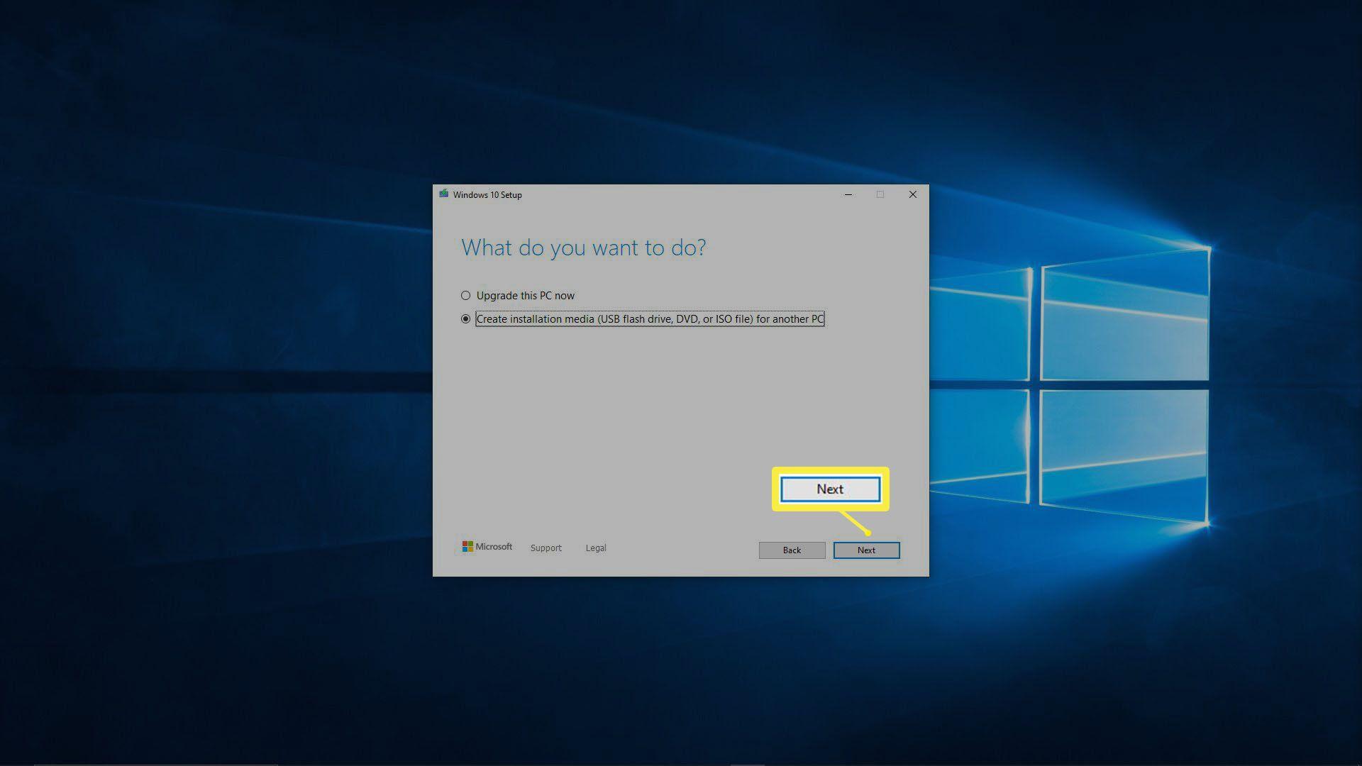 A screenshot of the Windows 10 media creation tool.