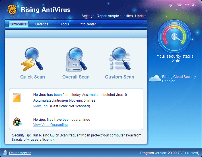 Screenshot of Rising Antivirus Free Edition v23 in Windows 7