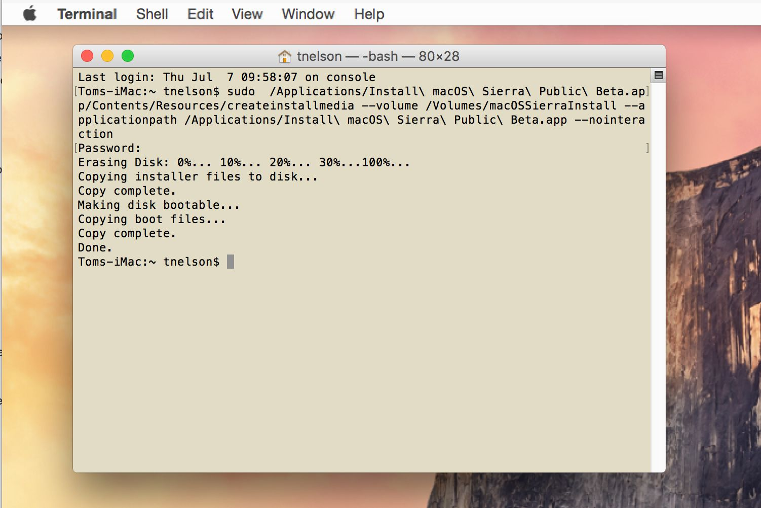 Terminal being used to create install media for macOS Sierra