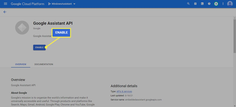 Enable Google Assistant API in Google Cloud Platform