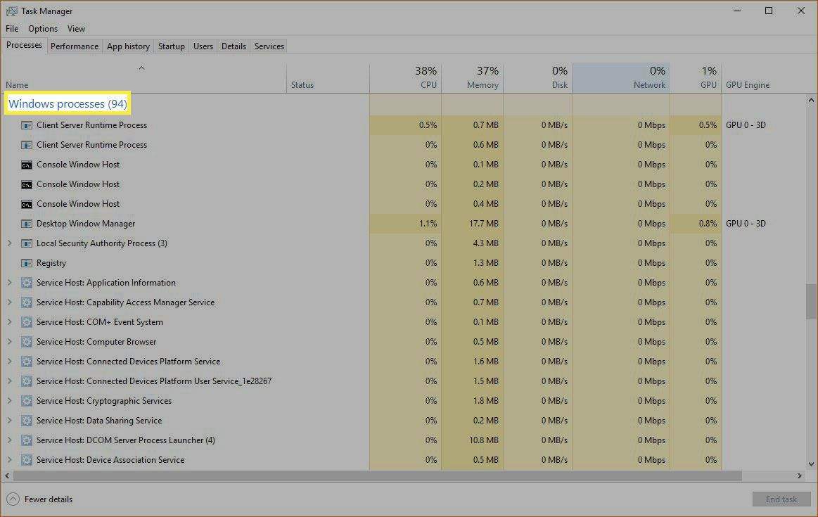 Windows Task Manager Windows Processes section.