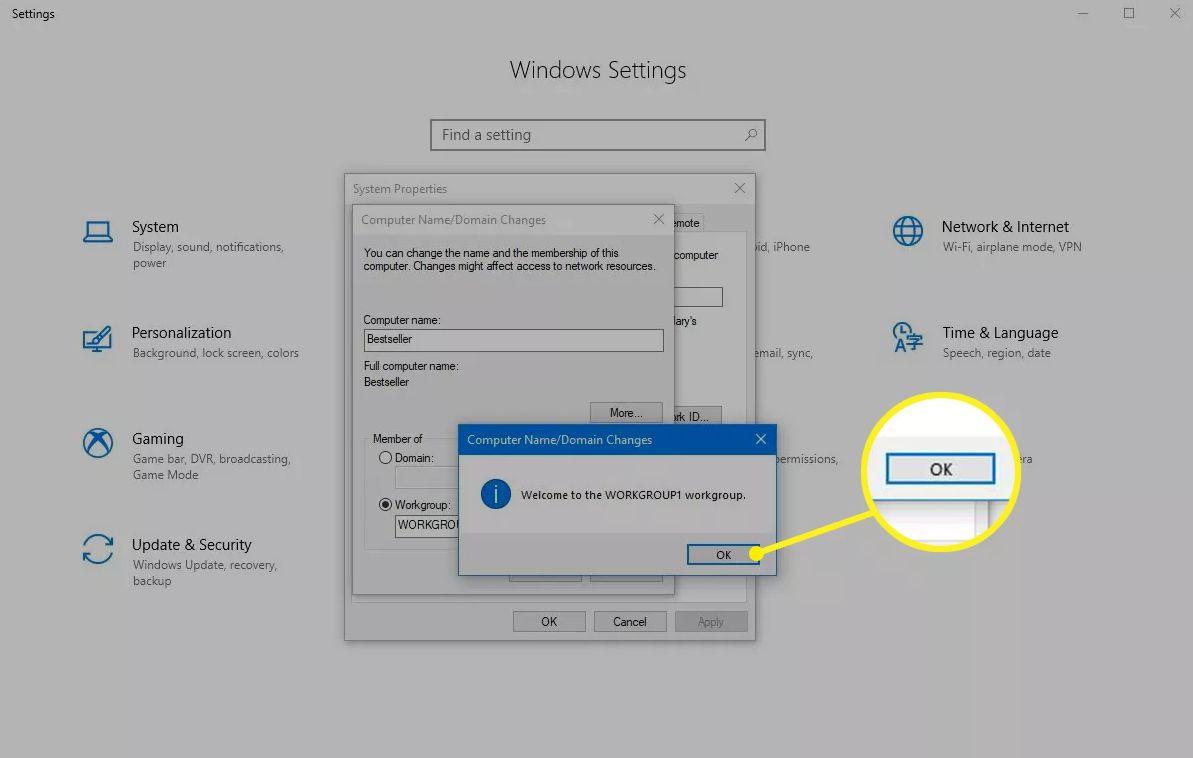 OK confirmation in Windows 10 settings