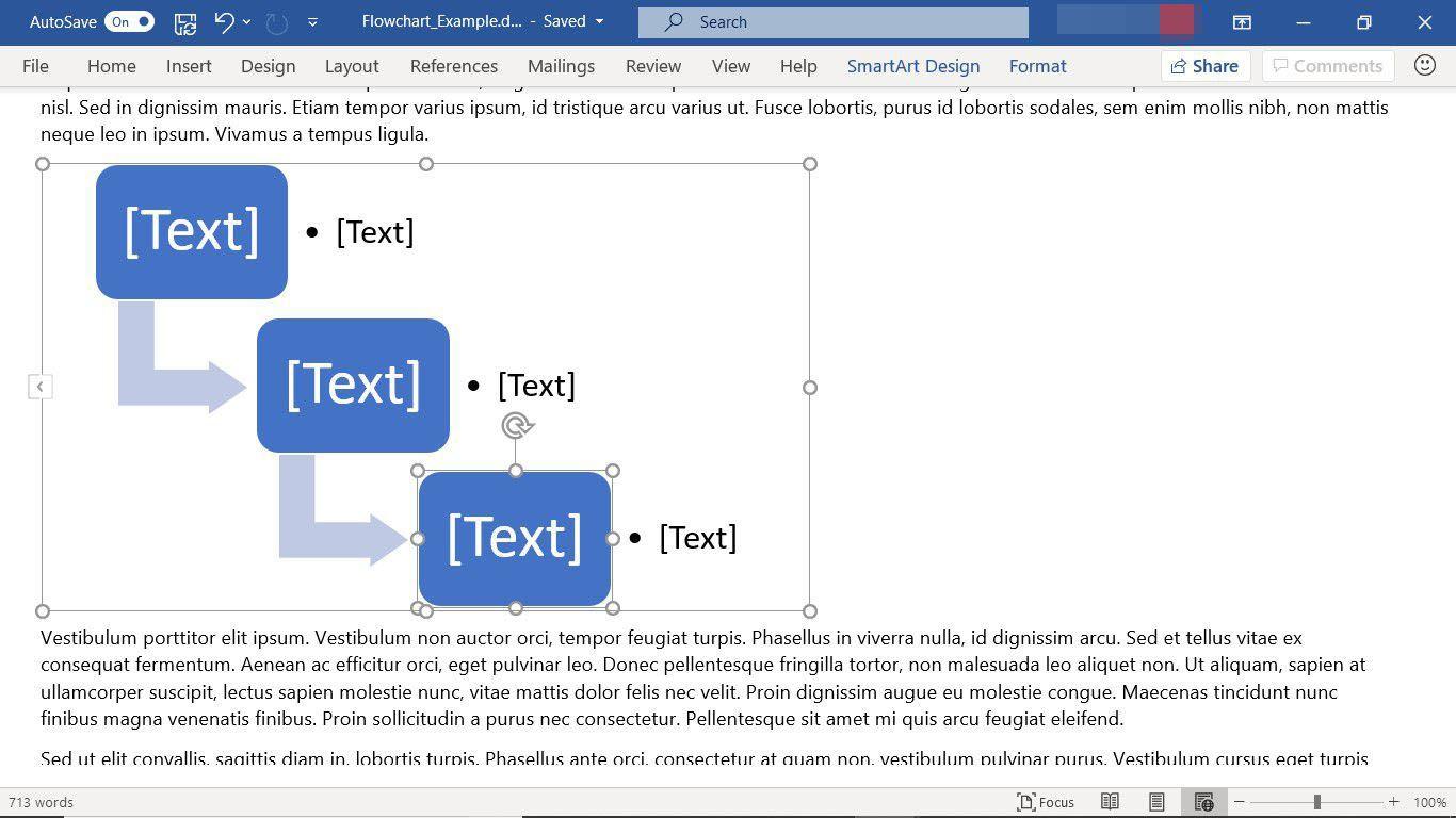 A SmartArt flowchart graphic in Microsoft Word