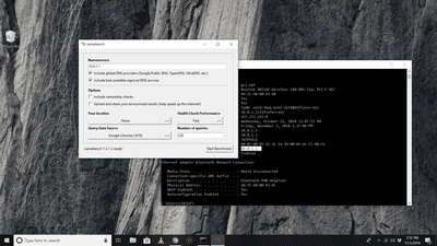 Namebench application checking the DNS server address gleaned from ipconfig /all command in Command Prompt on Windows 10