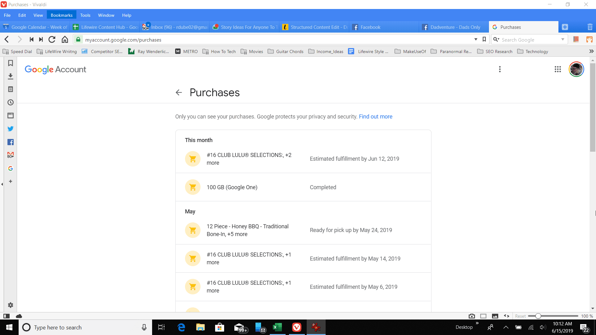 Screenshot of the Google Purchases page