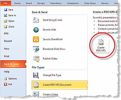 How To Save Powerpoint 2010 Presentations As Pdf Files