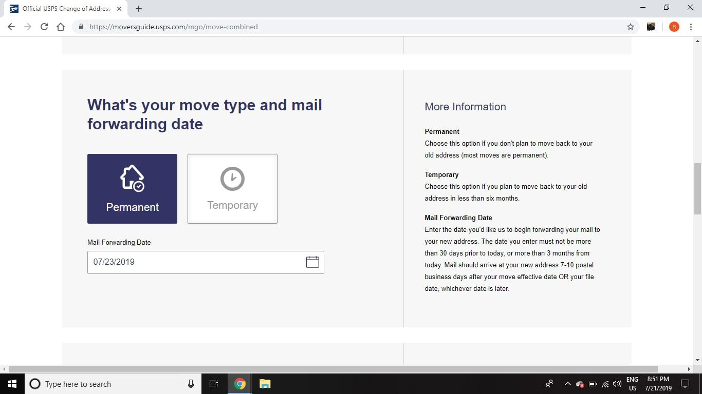 How To Complete A Post Office Change Of Address Online