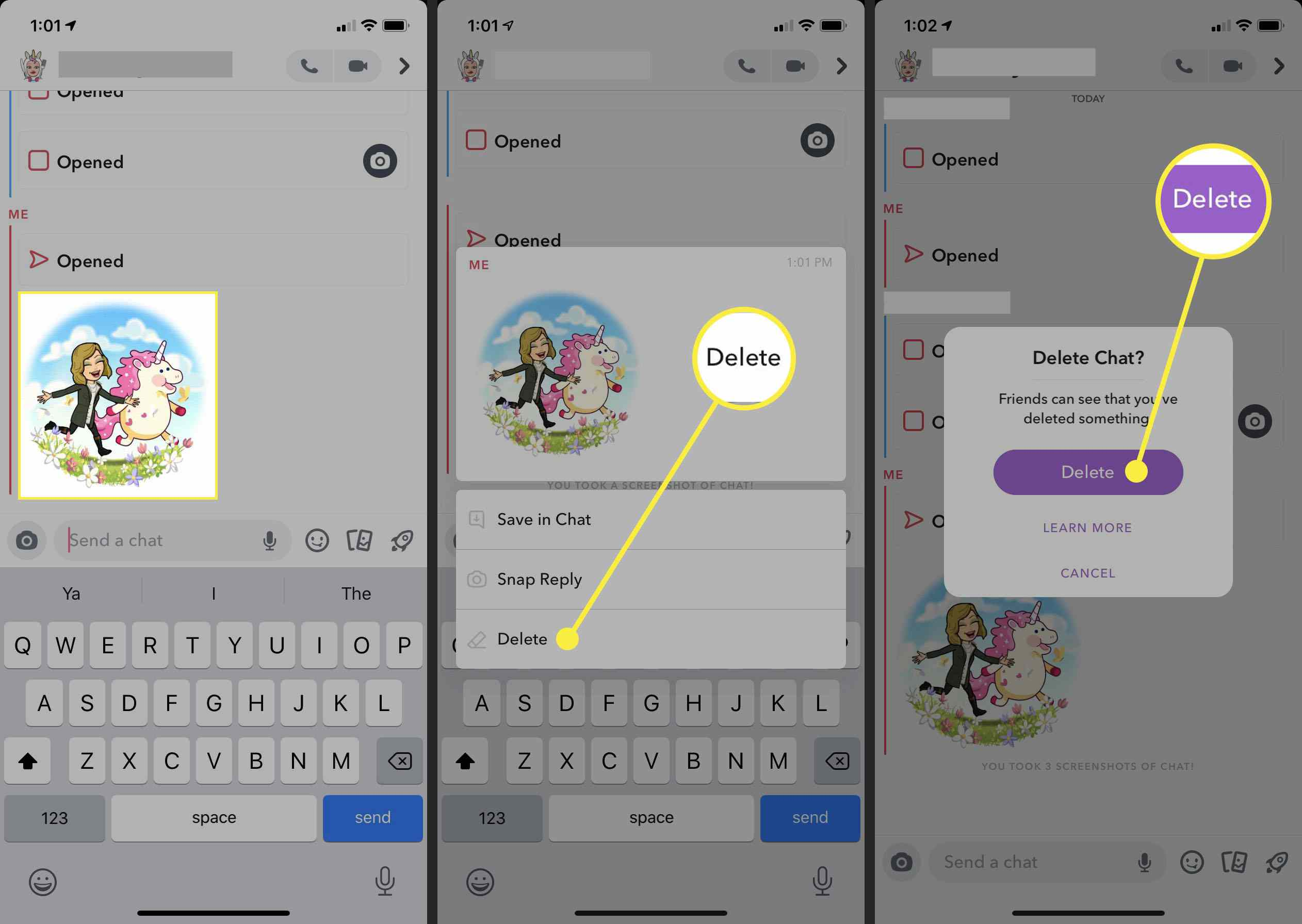 Steps to take to delete a message in Snapchat.