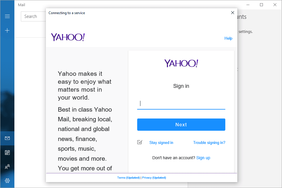 Screenshot Of The Sign In Prompt For Yahoo Mail Windows 10