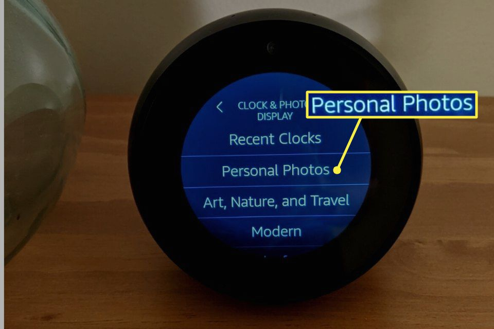 Personal Photos highlighted in Echo Spot settings