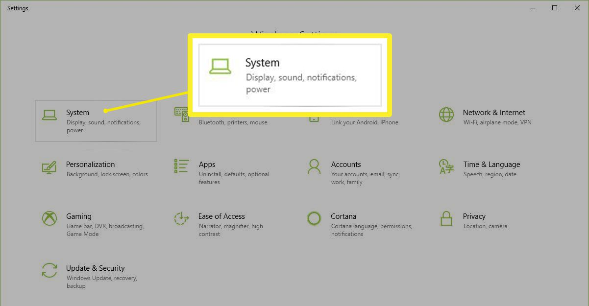 Settings > System