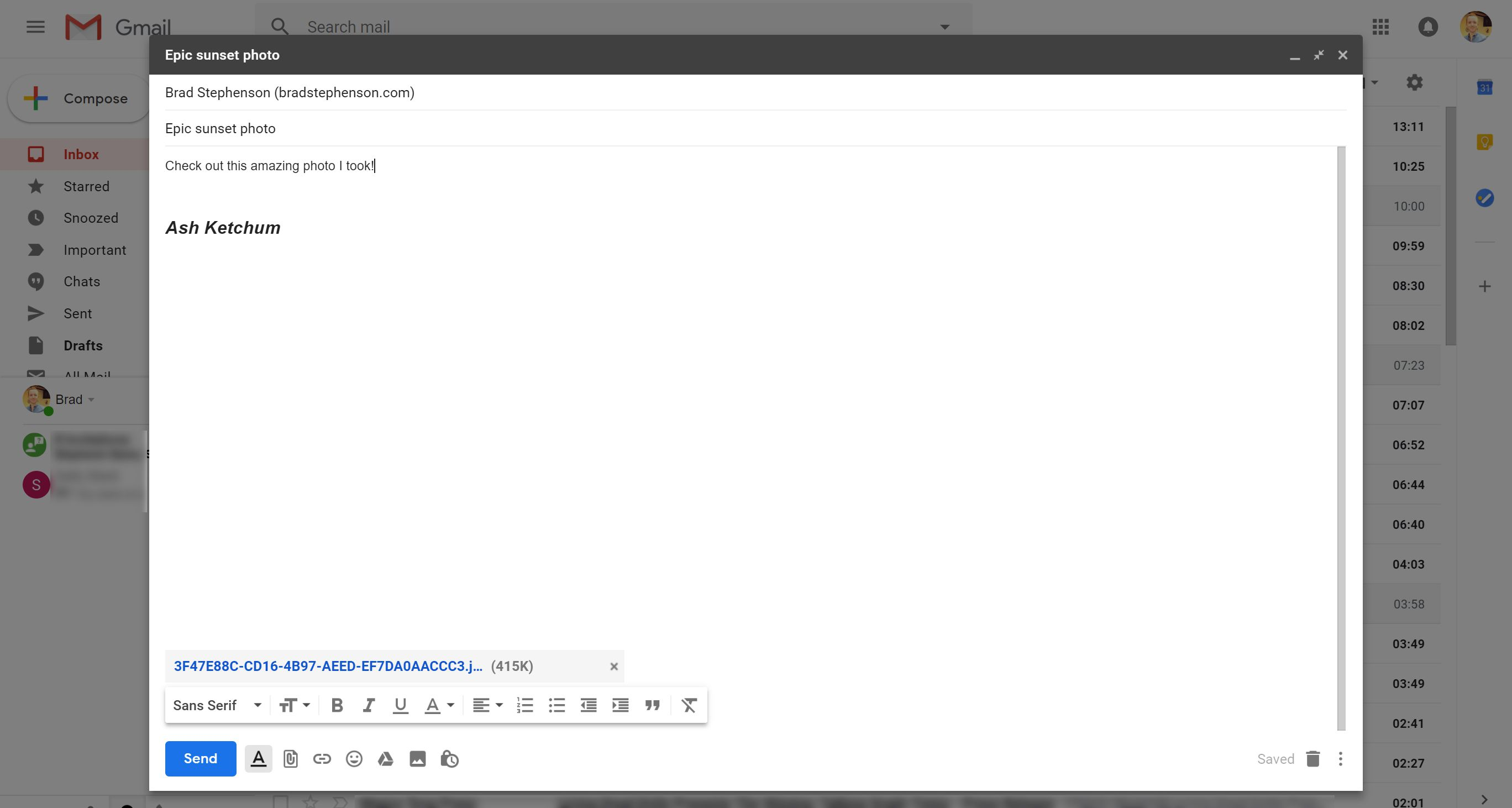 Adding images to an email in Gmail.