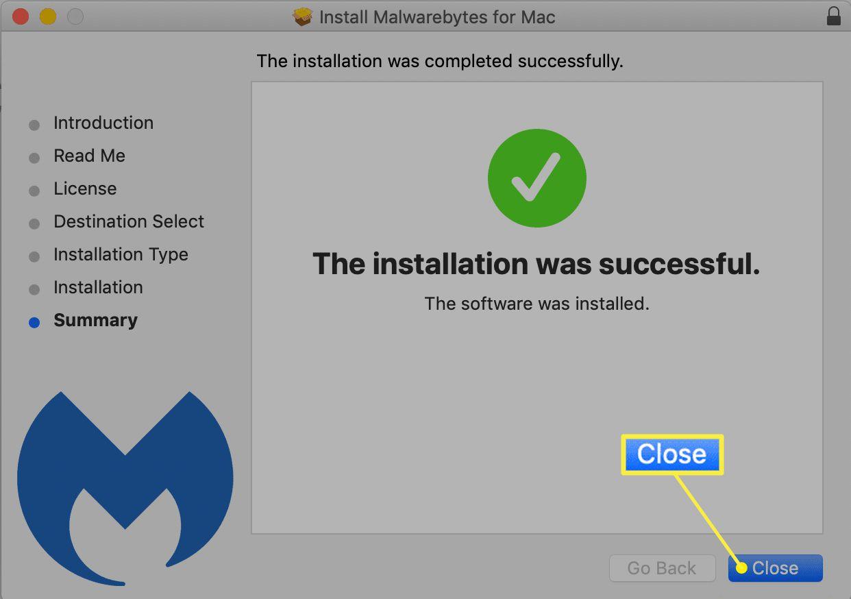 Malwarebytes for Mac installation complete