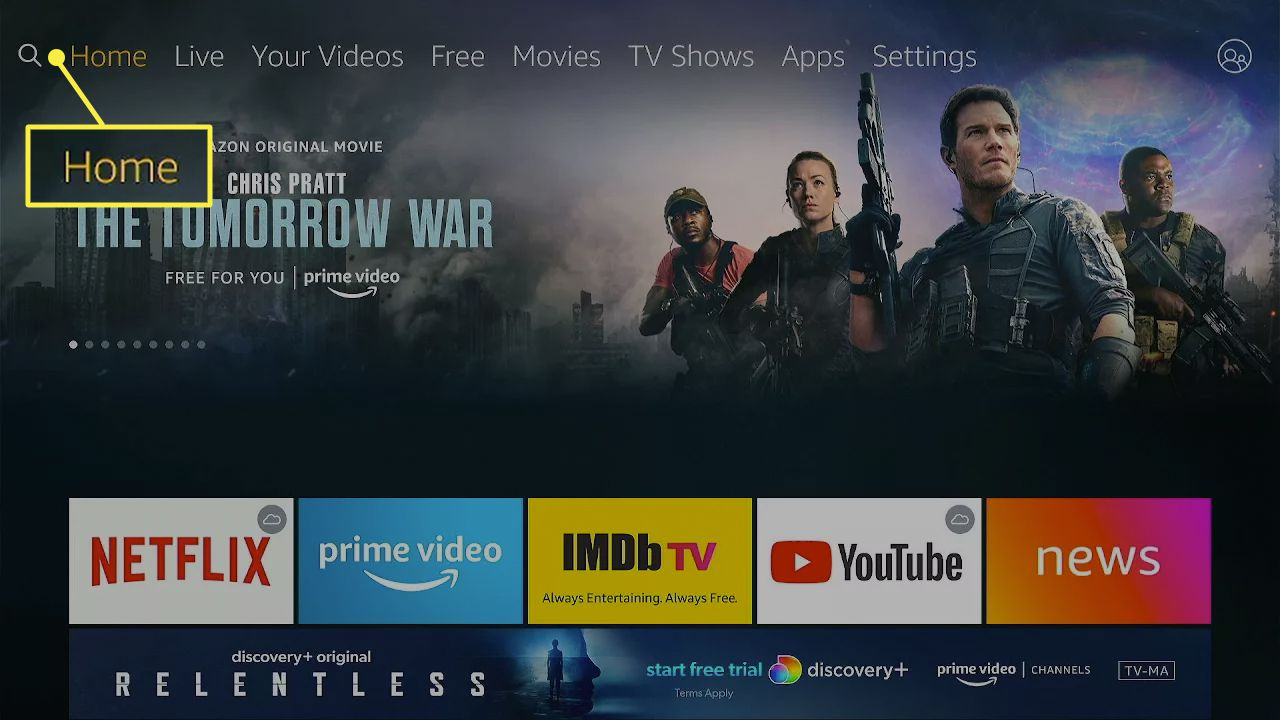 The Fire TV home screen.