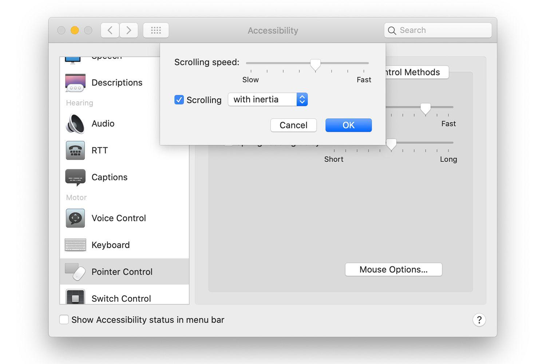 Mouse scrolling speed settings in Mac