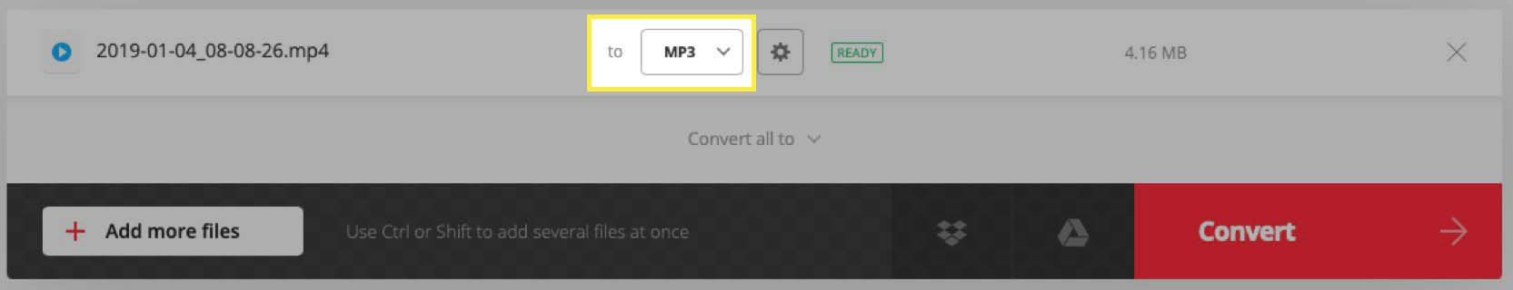 Confirm MP3 file format in Convertio's interface.