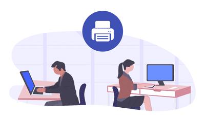 Computers users between printer