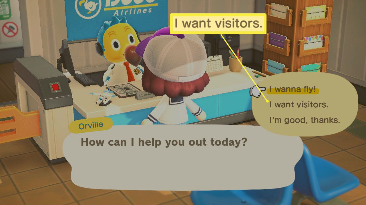 I want visitors dialog in Dodo's Airlines in Animal Crossing; New Horizons