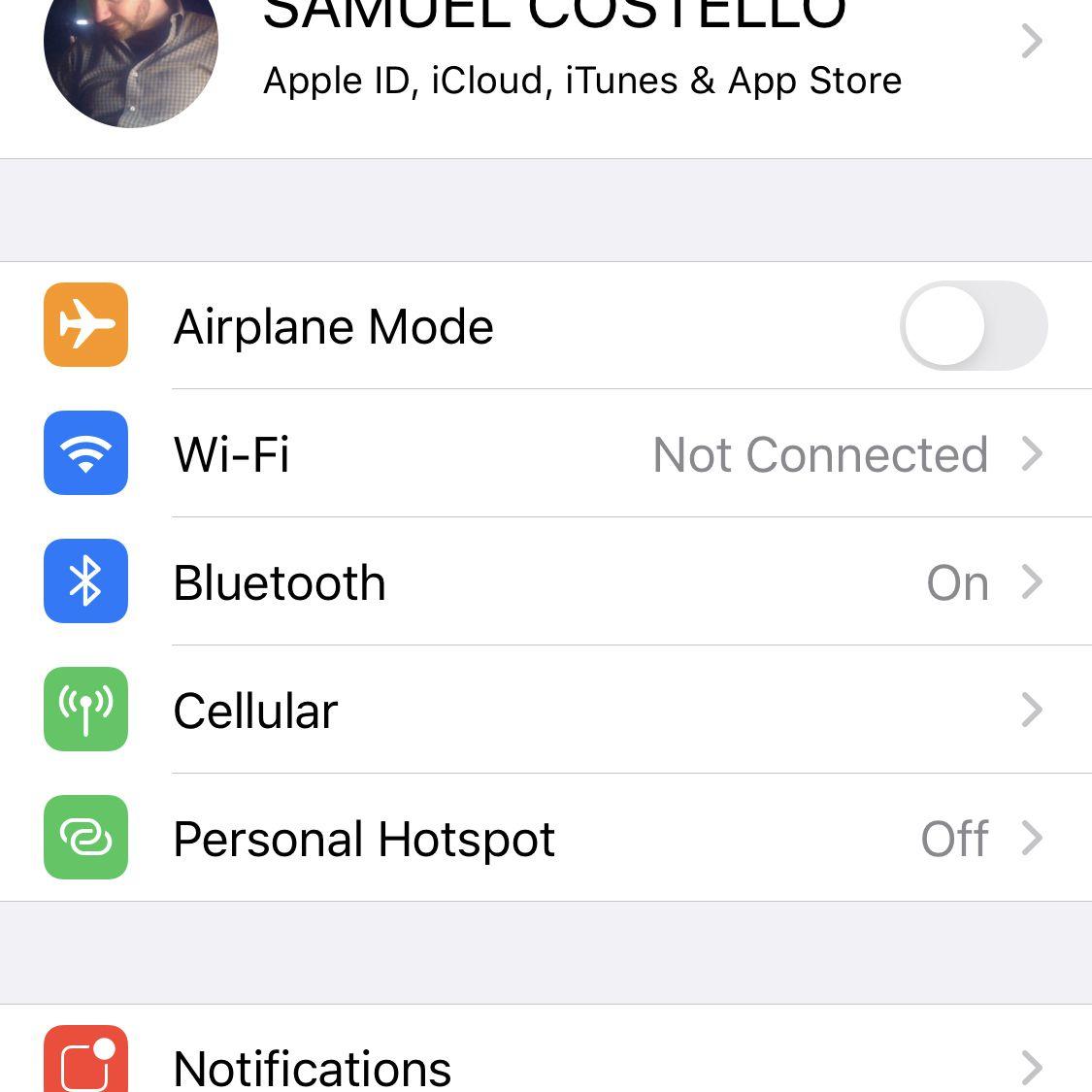 Screenshot of the iOS Settings app