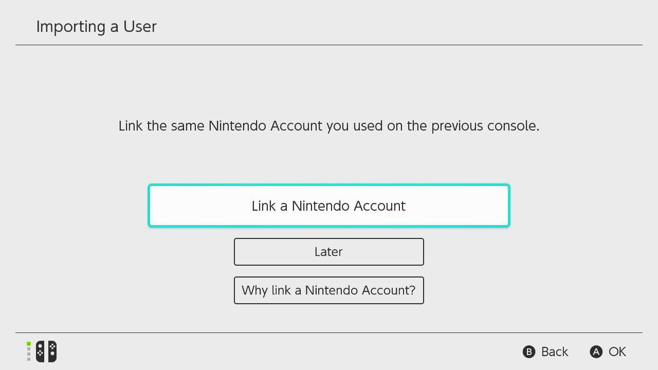 Select Link a Nintendo Account, then enter the email address you provided for the new account.