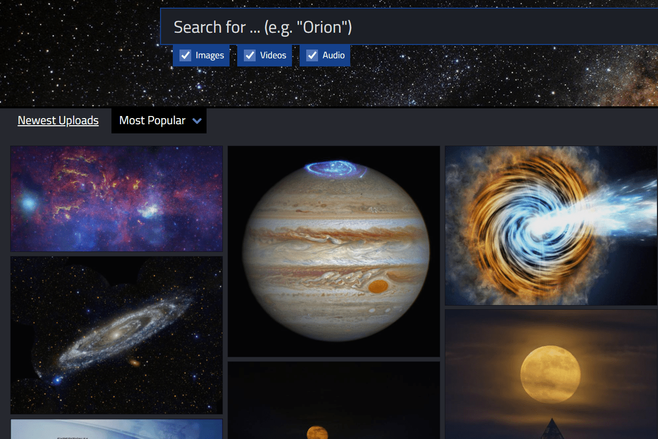 Image search on NASA's website