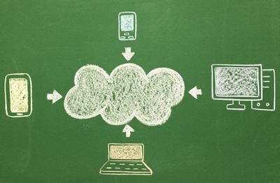 A chalkboard drawing of data being backed up into the cloud from smartphones and computers.