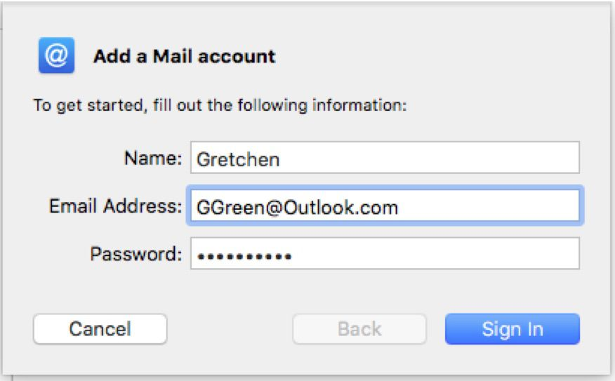 Screenshot of adding Outlook.com to Apple Mail