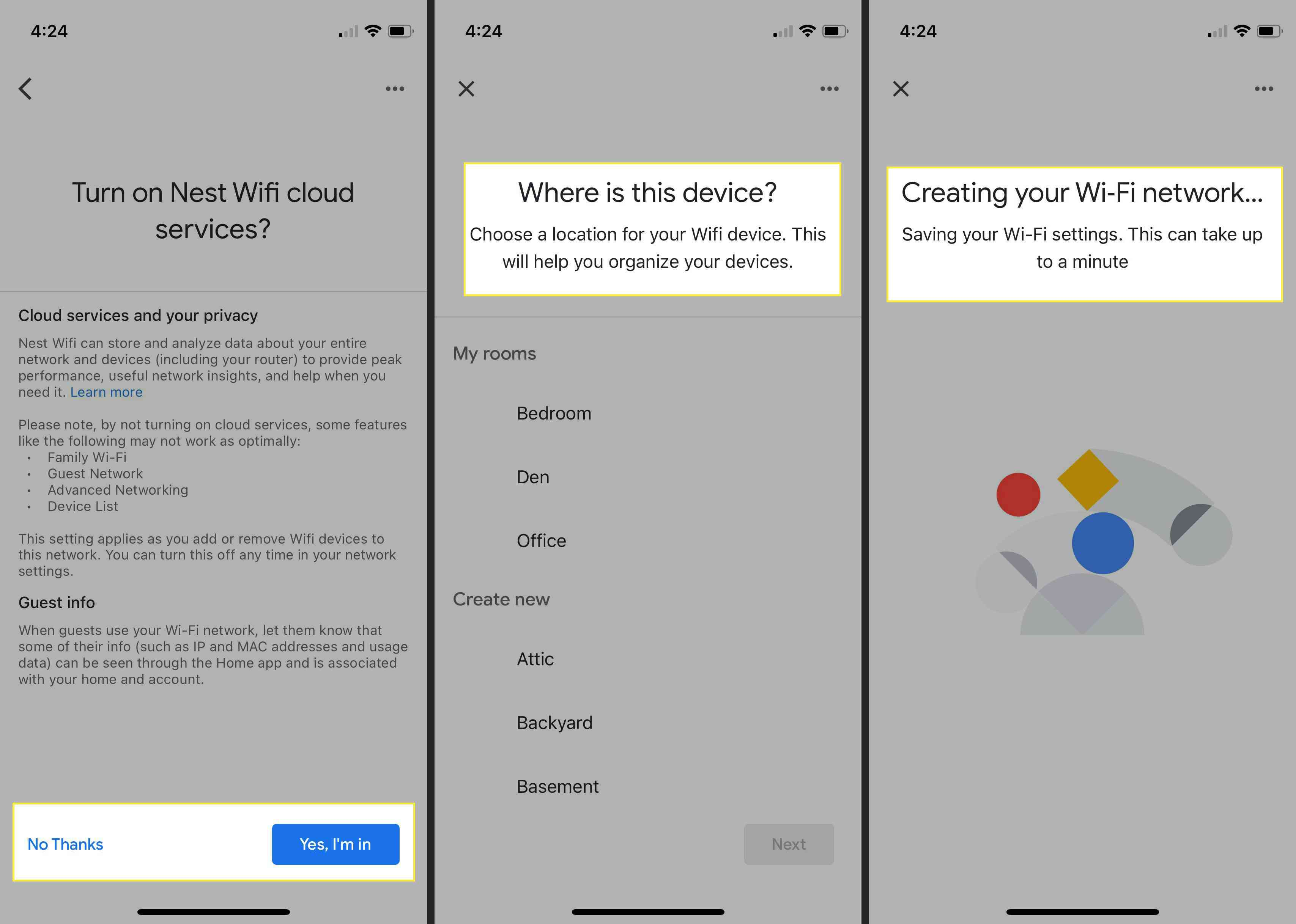 Creating your Wi-Fi network with the Google Nest router in Google Home app with options highlighted