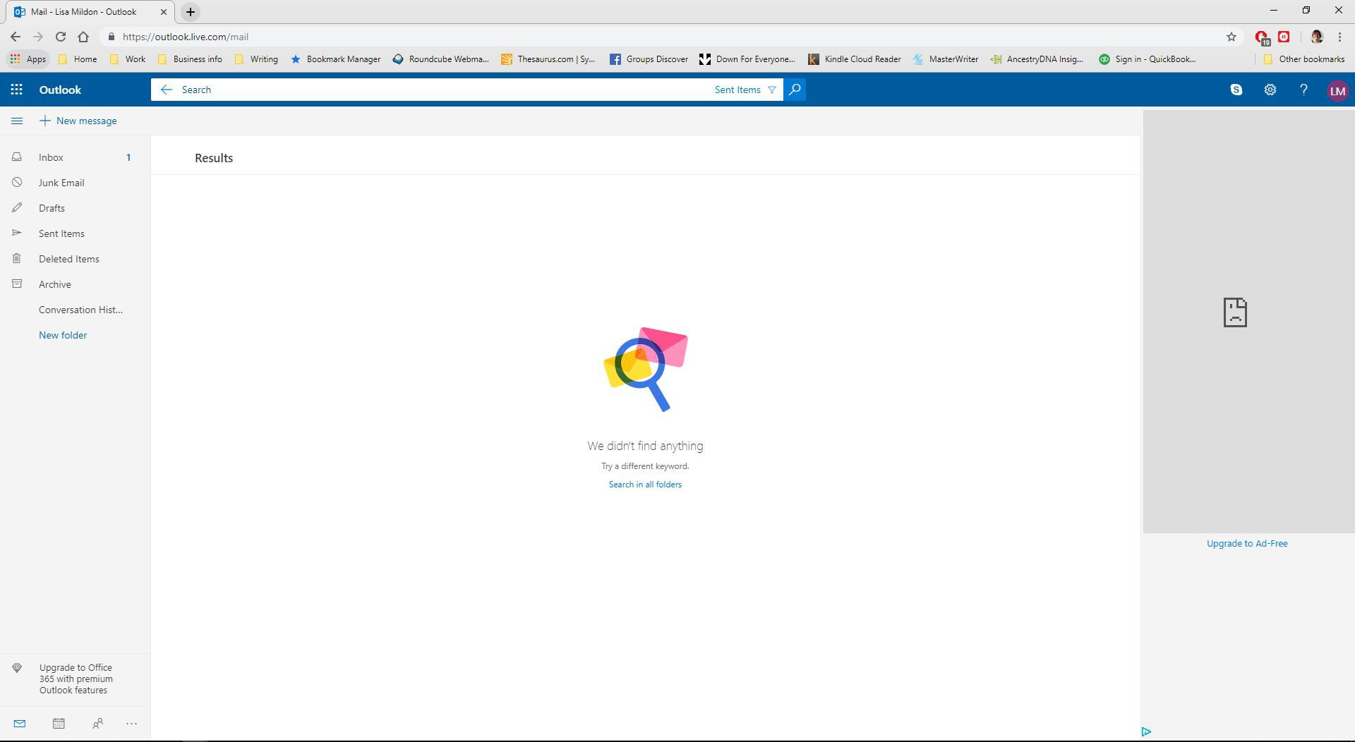Outlook Online interface showing nothing could be found during a search.