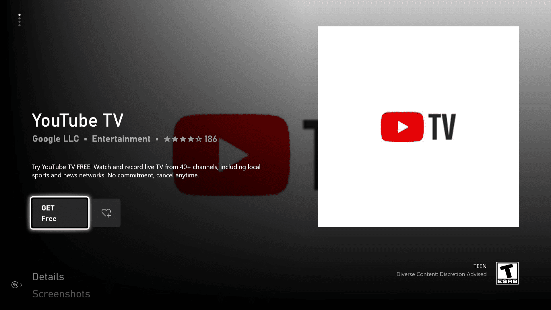 YouTube TV in the Xbox Series X S Store.