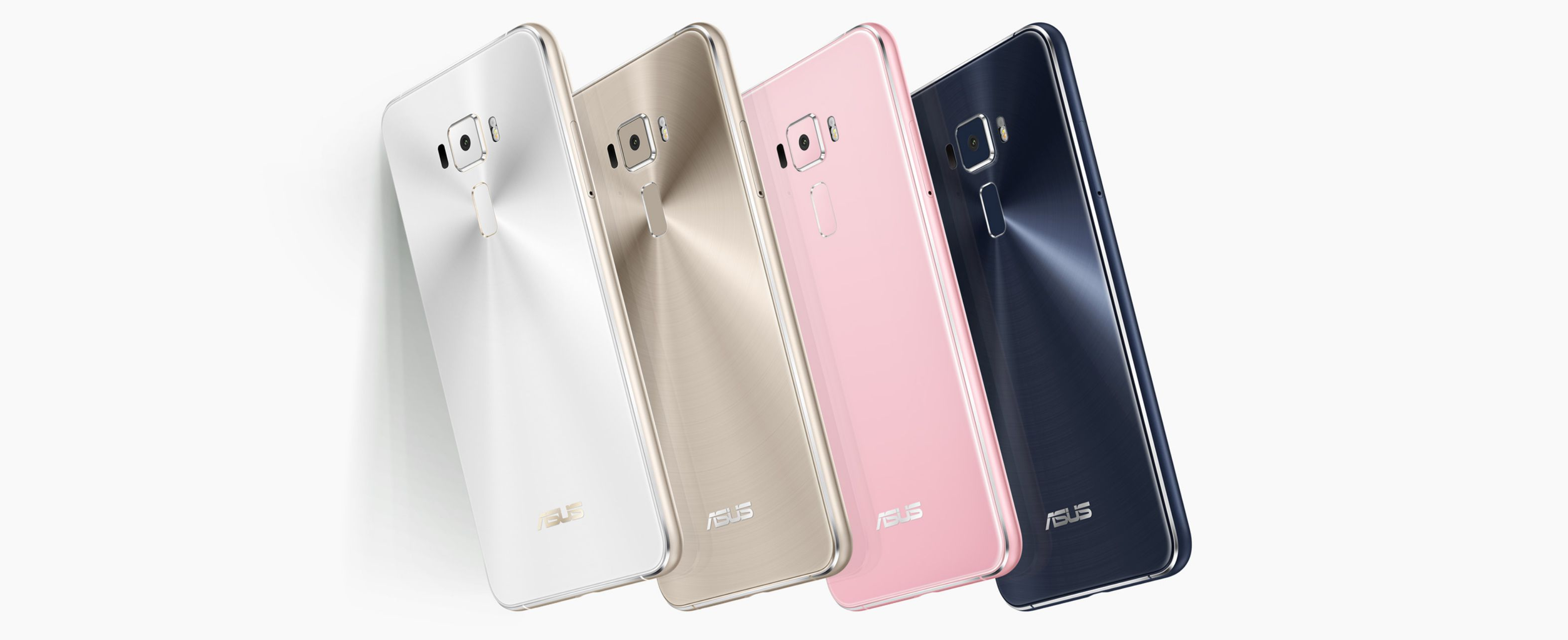 Asus ZenFone 3 in silver, gold, pink and black, back view