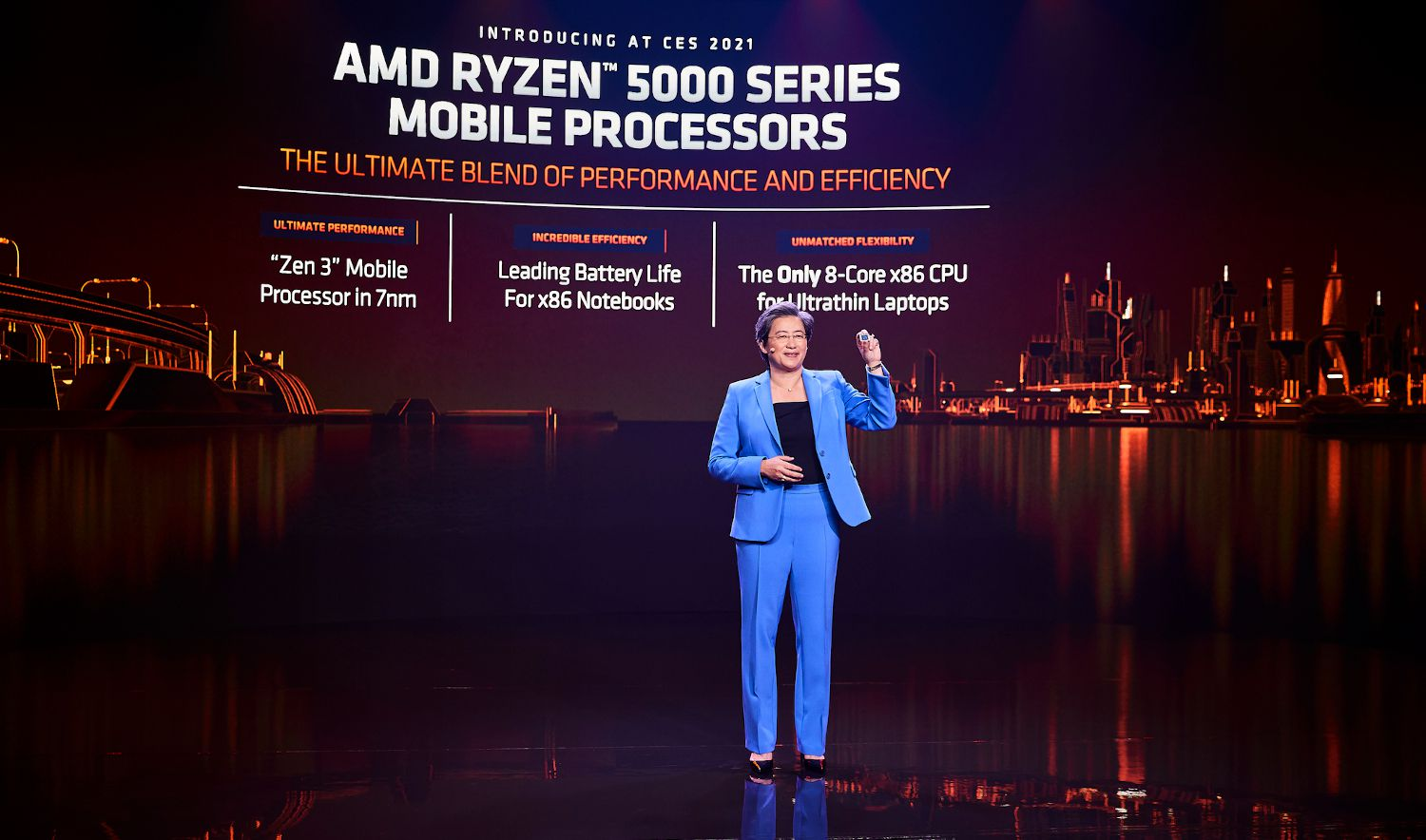 AMD CEO Dr. Lisa Su on stage at CES 2021