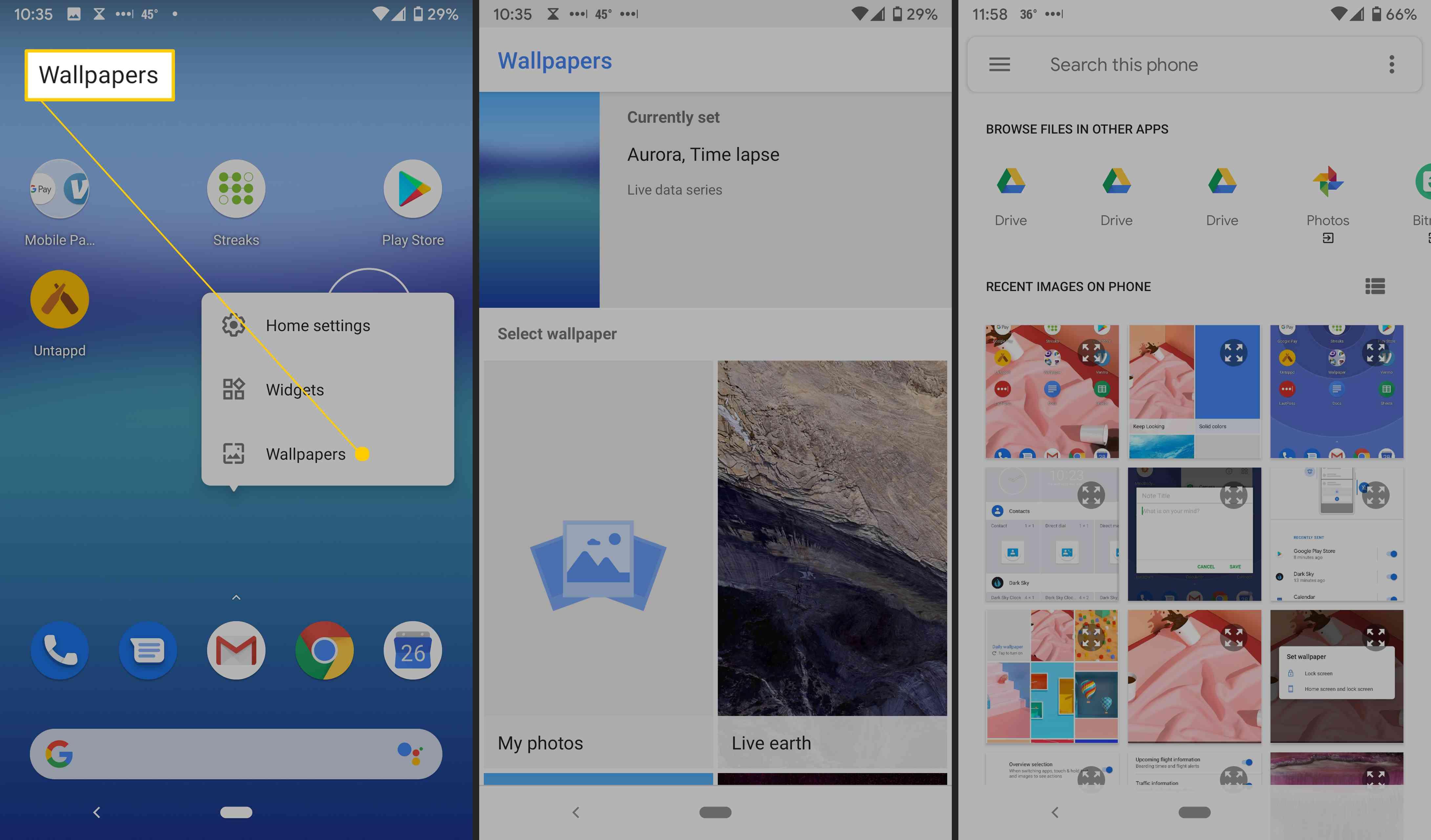 Home screen wallpaper options.