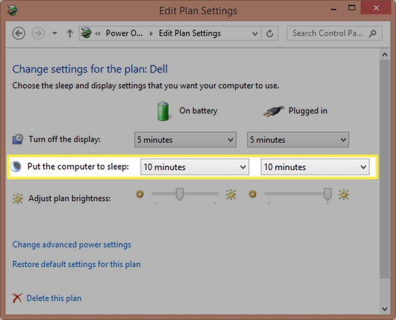 Windows 8.1 - selecting sleep times for PC