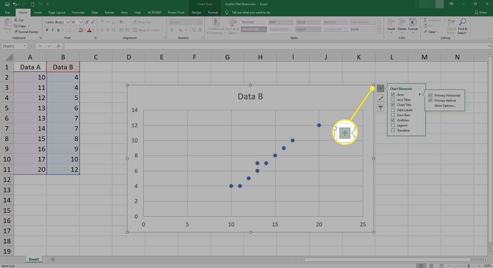 Screenshot with default Scatter Plot inserted. Note the +, paintbrush, and filter icons shown to the right of the selected chart.