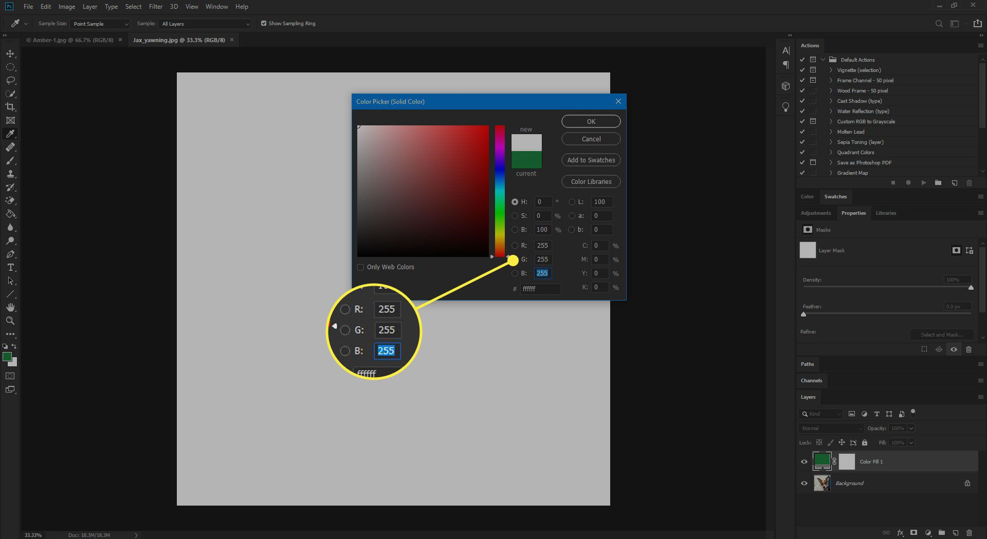 The RGB options in the Color Picker